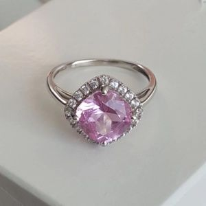 Jewelry - 10k pink white sapphire halo gemstone ring 7